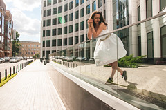 Runaway bride (MaksMaria) Tags: moscow russia beautiful belt black blue brown brunette building business casual concrete dress elegant eyes fit girl glass golden hair leisure partition portrait russian season shine skinny snickers summer sun sunlight tall walk wedding white woman young