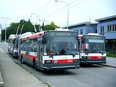 Brno trolleybuses Nos. 3035 and 3056 plus one unidentified. (johnzebedee) Tags: trolleybus transport publictransport vehicle brno czechrepublic johnzebedee skoda skoda21tr