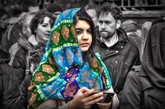 Standing out from the Crowd (ihughes22) Tags: ihughes22 nikon asian selectivecolouring liverpool chinesenewyear lady headdress sari chinatown newyear liverpoolecho celebrations malalayousafazi nobelpeaceprize
