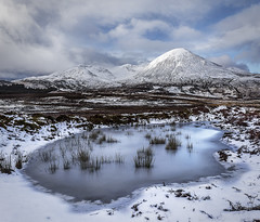 Ice Blue (SkyeWeasel) Tags: scotland skye landscape mountains beinn na caillich snow pond ice ngc