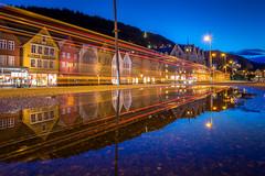 Bryggen, Bergen, Norway (Paulius Bruzdeilynas) Tags: bergen norway norge norwegian city bryggen reflection oldhouses puddle water morning bluehour sony sonyalpha sonya7ii