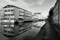 Canal reflection - Worcester (Macro light) Tags: worcestercanal worcester reflections blackandwhite boats flats houses water winter
