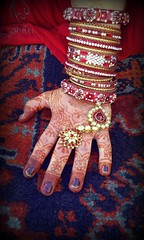 Henna (Kris Lantijn) Tags: hand henna marriage hindu india festival color woman red jewelry gold beautiful bangles nails finger