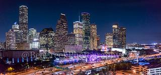 Aerial Houston Skyline Night Pano