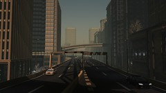 The Belt (alexandriabrangwin) Tags: alexandriabrangwin secondlife 3d cgi computer graphics virtual world photography tokyo japan japanese city urban heat humid dust afternoon early evening glow dim light setting sun elevated highway belt loop road cars driving skyscrapers buildings r2 mainstore mizuki town distant shadows