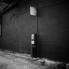 (patrickjoust) Tags: mamiya c330 s sekor 65mm f35 kodak verichrome pan expired 2004 developed rodinal 150 tlr twin lens reflex 120 6x6 medium format black white bw home develop discontinued film blancetnoir blancoynegro schwarzundweiss manual focus analog mechanical patrick joust patirckjoust sowebo fib filminbaltimore meetup baltimore maryland md usa us united states north america estados unidos urban street city broken defunct phone sign brick wall