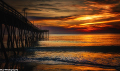 Sunset Color Explosion (1 of 1) (mjdrhd) Tags: color sky nature beauty morning goldenhour sand beach ocean pier sunrise outerbanks