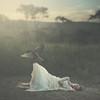 Flight (keren_stanley) Tags: conceptualart conceptphotography conceptual conceptart surrealart surrealism fineart fineartphotography crow birds birdsinflight whitedress africanbush african sunset