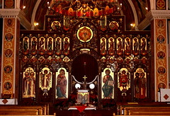 Sts. Cyril and Methodius Front of Church (Jay Costello) Tags: stcyrilandmethodiusukrainiancatholicchurch stscyrilandmethodius ukrainian catholic church god worship religion stcatharines ontario canada on scrren gold word brown carved altar