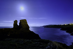 Black Castle (OgniP) Tags: moonshine moon night breathtakinglandscapes bay sea castle landscape ocean sky water coast rock
