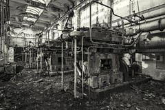 Compressor room (Camera_Shy.) Tags: coke wales south cwm works derelict abandoned machinery compressor engine power industrial building abandonment decay disused old bw monochrome black white decaying rusty mono uk decayed rotten nikon urban exploration tresspassing d810 urbex ue
