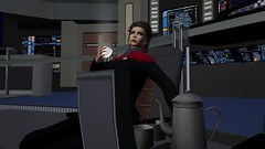 Voyager - Decaf (alexandriabrangwin) Tags: alexandriabrangwin secondlife 3d cgi computer graphics virtual world photography star trek voyager captain katherine janeway kathryne kate mulgrew tribute garrett wang funny silly pot coffee cup sitting captains chair bridge intrepid class starship shouting over shoulder woman starfleet uniform comm badge control panel