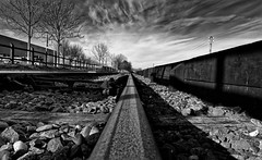 On Track (Alfred Grupstra) Tags: blackandwhite railroadtrack transportation old vanishingpoint nopeople train outdoors diminishingperspective travel steel industry nature obsolete architecture abandoned oldfashioned