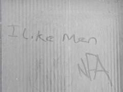 Lust in the Dust (the justified sinner) Tags: justifiedsinner birmingham westmidlandspanasonic minolta md telerokkor 135 28 gx7 jewelleryquarter dust graffiti window nfa ilikemen