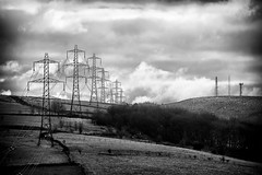 Land Transformers (Missy Jussy) Tags: pylons satalite landscape land lancashire rochdale structures sky clouds vignette trees forest woodland fields fence walls hills hillside piethornevalley valley ogden mono monochrome moodylandscape bw blackwhite blackandwhite canon canon5dmarkll 70200mm ef70200mmf4lusm ef70200mm canon70200mm