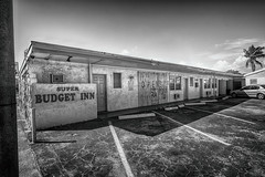 super budget inn (rosserx) Tags: hollywoodfl super budget inn motel abandoned southflorida blackandwhite