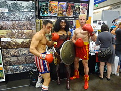 It must be Rocky 4 - there's Rocky Balboa, Ivan Drago and Wonder Woman (Sconderson Cosplay) Tags: comic con san diego sdcc 2016 rocky iv cosplay