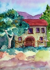 Stone Winery Bldg. (BonnieBuchananKingry) Tags: watercolor watercolorpainting landscape architecture stonehouses wilderness park glendale winery
