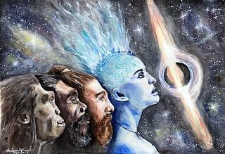 """Human Evolution"" Watercolor painting 36x51cm"