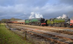 9F 2-10-0 Loco No.92214 passes Mogul No.46521 at Swithland, with the 14.30 from Loughborough to Leicester North. Winter Steam Gala, Great Central Railway. 28 01 2018 (pnb511) Tags: greatcentralrailway trains railway locomotives loco br steam gala gcr track train locomotive locos smoke power trucks freight goods signal semaphore carriages sidings