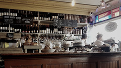 A Wellington square, a slice of carrot cake, a slice of spicy apple cake, a fruit scone with butter and jam, a slice of coffee cake and a croissant please. Oh, and a glass of water... (Michael C. Hall) Tags: café bar counter wines