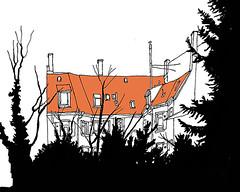 Hidden House, Südweststadt, Karlsruhe, February 2018_small (stevefaradaysketches) Tags: house südweststadt urbansketch inkdrawing penandinksketch karlsruhe