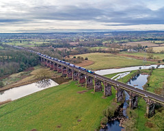 88007  on Dutton Viaduct (robmcrorie) Tags: 88007 drs river weaver navigation dutton viaduct 4s43 intermodal train rail railway daventry mossend phantom 4