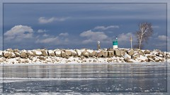 Ice, Slush and Snow (Note-ables by Lynn) Tags: sky landscape 7dwf water winter snow harbor lakeontario