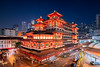 Vermillion (Scintt) Tags: singapore buddhatoothrelictemple chinatown religion culture oriental chinese asian traditional buddhist architecture building city urban night evening cityscape skyline buildings structure exploration long exposure slow shutter clouds dramatic surreal epic vantage point wide angle tilt shift perspective correction pce 19mm nikkor nikon travel tourism iconic popular offices modern residential skyscrapers scintillation scintt jonchiangphotography light trail