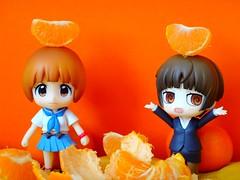 みかん~ 🍊 (Dolly Fugu ღ) Tags: nendoroid mankanshoku mako akane tsunemori kill la psycho pass clementine mikan orange miniature uniform goku version