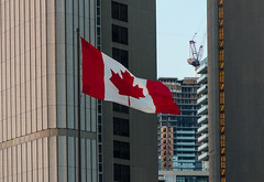 Our Flag (Jackx001) Tags: 02182018 2018 canada downtown february jacknobre ontario photography streets toronto people sunset winter cityhall queen st ufo flag