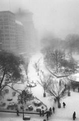 UNION SQUARE (BEN SHIRAI) Tags: union square snow winter nyc newyork city film 35mm kodak