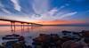 A place to dream (Lluvia Fotografia) Tags: seascape landscape canon light sunshine sunset dawn rocks bridge reflection sky longexposure pontdelpetroli barcelona nature hss