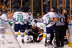 """Kansas City Mavericks vs. Florida Everblades, February 18, 2018, Silverstein Eye Centers Arena, Independence, Missouri.  Photo: © John Howe / Howe Creative Photography, all rights reserved 2018 • <a style=""""font-size:0.8em;"""" href=""""http://www.flickr.com/photos/134016632@N02/40387901671/"""" target=""""_blank"""">View on Flickr</a>"""