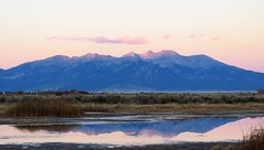 Alpenglow Reflection (Patricia Henschen) Tags: playa sangredecristo mountains mountain sunset rural ranch southriverroad sanluisvalley alamosa colorado countryside backroads backroad blanca autumn clouds wetland alpenglow