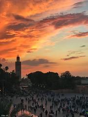 Sunset over Djemaa el-Fna Square, Marrakech, Morocco (Nina_Ali) Tags: djemaaelfna morocco marrakech afrique sunset silhouette sky people streetphotography ninaali february2018