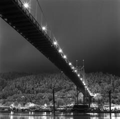 (Zeb Andrews) Tags: hasselblad stjohnsbridge snowy night urban portland oregon kodaktrix blackwhite monochrome bridge suspensionbridge pacificnorthwest winter film 6x6 mediumformat