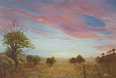 Flaming sky (zoe_r_s) Tags: zoersart zoers oil oilpainting canvas landscape painting sunset sky trees