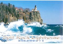 Minnesota - Waves & Split Rock Lighthouse - TO TRADE (bdsuss) Tags: minnesota lighthouse postcard