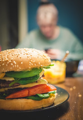 172 of 365: Om Nom Nom (tainkeh) Tags: 2018 setting nikon winter bun nikkor yummy pepper nom table eat 35mm dinner food burger chili january vegetables bellow joe homemade mayo meat sloppy mayonnaise 365 beef patty cheese seed 365project lens project365