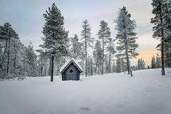 Cabin in the woods (mirri_inc) Tags: cabin hut white north finland lapland europe sunrise cold winter