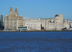 Liverpool waterfront (Colin__Murray) Tags: liverpool port mersey merseyside england uk building britain sky sony waterfront docks harbour day photography heritage city clock river blue winter liverbirds cunard beatles water