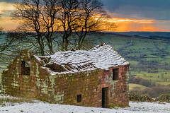 Roaches Barn (alan.dphotos) Tags: derelict barn house sunset clouds snow winter stone fields trees landscape grass tree wood sky golden glow