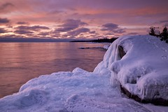 sawpit bay / sunset (twurdemann) Tags: 06ndsoftgrad algoma beach canada cold fastice fujixt1 highway17 horizon ice lakesuperior landscape leeseven5 nature northernontario ontario sawpitbay scenic seascape shoreline sky snow sunset transcanadahighway viveza water winter