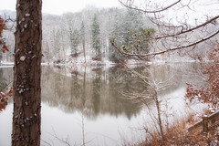 Strahl Lake (dmhyde11) Tags: lake winter snow statepark indiana hiking browncountystatepark reflections
