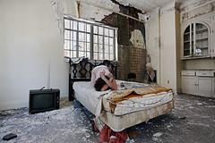 Dissolve the floors of memory (sadandbeautiful (Sarah)) Tags: me woman female self selfportrait abandoned bedroom abandonedhouse