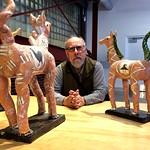 Ali with Goro Suzuki's glazed ceramic pieces, Kaneko, Photo by CRudin thumbnail