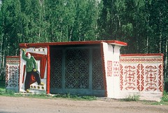 4a. A bus stop in the middle of nowhere on the steppe