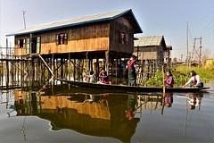 _DSC7619g (Tartarin2009) Tags: myanmar inlelake travel nikon d600 boat schoolmate water école reflection reflexion stilthouses people school student intha waterscape