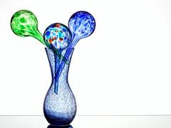 Glass Bouquet (Karen_Chappell) Tags: glass orb sphere round circle vase blue green white stilllife three 3